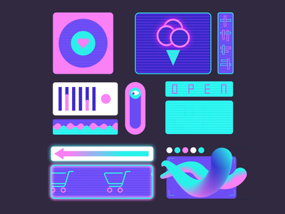 Shop Signs vector animation waveform wave animation science fiction scifi cyberpunk shopping cart icecream gadgets ui design ux design shopping happy hour ad signs advertisment neon signs signs future bladerunner shop signs