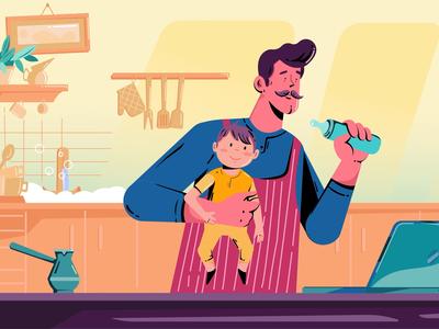 Housekeeping! housekeeper housewife baby household illustration gif animation motiongraphics aftereffects 2danimation motiongraphic motiondesign