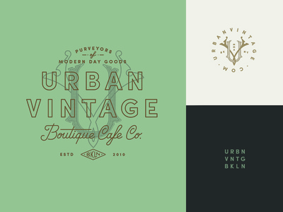 Urban Vintage brooklyn typography device cafe boutique coffee monogram logo identity