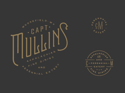 Capt. Mullins Logo Marks logo sub marks perennial appalachian eatery cooking dining restaurant