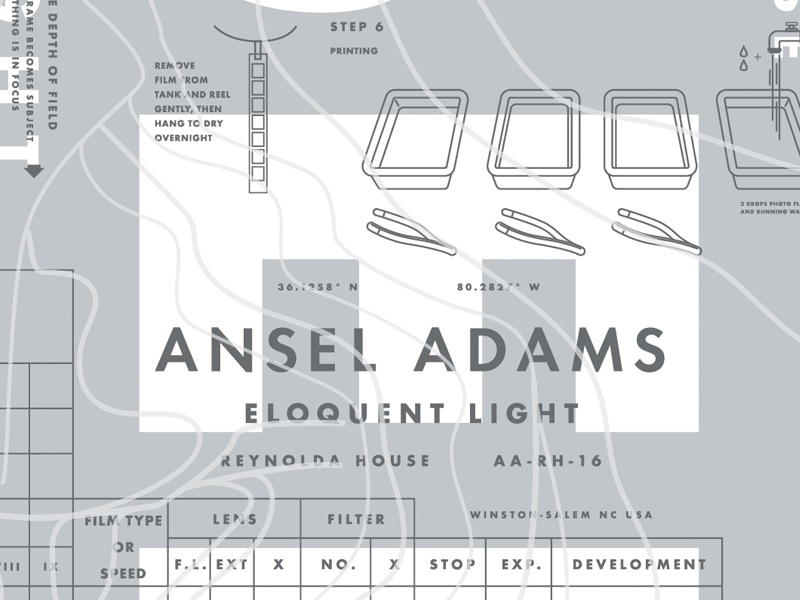 Ansel Adams Identity & Poster Detail museum illustration silver poster photography exhibition art reynolda house ansel adams