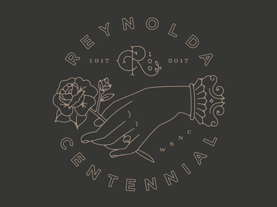 Reynolda Centennial Sticker winston salem house reynolda vintage black gold centennial key rose hand sticker