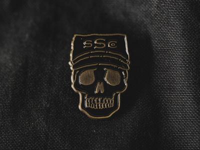 Sutlers Skull Pin gin pin gin wsnc north carolina winston salem enamel pin lapel ssco military sutlers skull