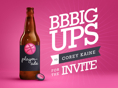 Bbbigups Dribbble beer invite thanks player-ade dribbble