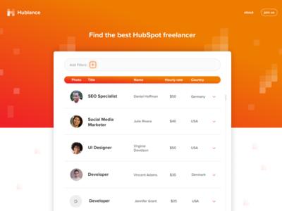 Hublance - Find the best Hubspot freelancer find job find product website design designs interface list filter ui filters search hubspot freelance branding website web webdesign design ui