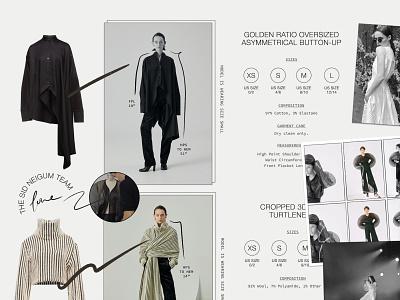 Sid Neigum Size Charts product fashion design fashion brand editorial measurements polaroid avant garde fashion online shopping ecommerce digital marketing sizing digital size chart