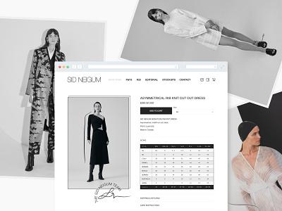 Sid Neigum Product View editorial digital marketing black and white minimalist addtocart ux ui online shopping ecommerce fashion design fashion brand sizing size chart
