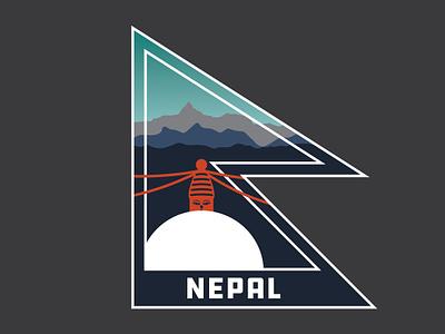 Nepal asia travel flags nepali himalayas mountains temple buddhist illustration silhouette flag nepal