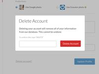 """Simple """"Delete Account"""" Modal"""