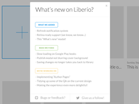 """""""What's new on Liberio?"""" modal"""