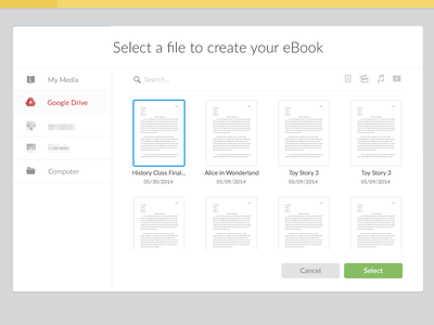 Custom File Picker liberio file picker ui interface icons modal flat simple media