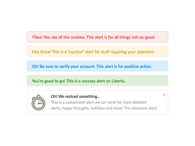 Alerts Styling liberio alerts simple flat illustration style guide app