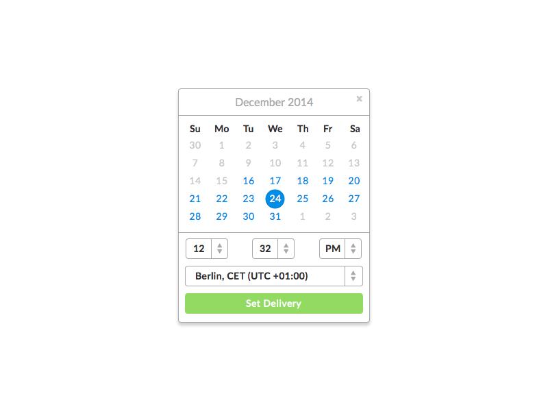 Schedule Gift Delivery liberio simple ui calendar web app