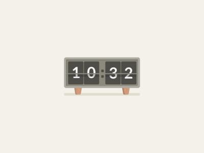 Retro Clock simple time illustration clock flat retro wood