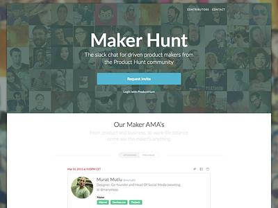Maker Hunt landing page landing website invite slack maker product simple flat