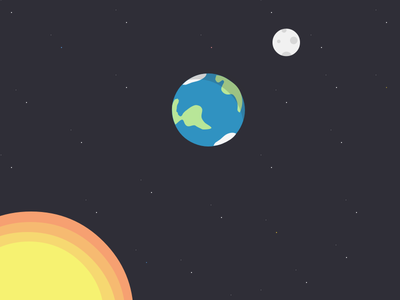 Up In Space illustration science flat simple space universe planets earth moon stars