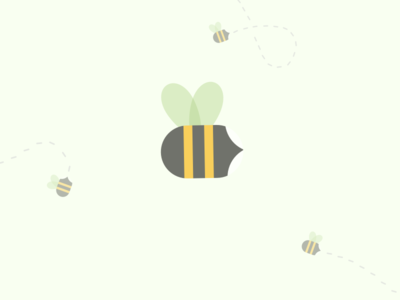 Bees Buzzing flat simple bees illustration