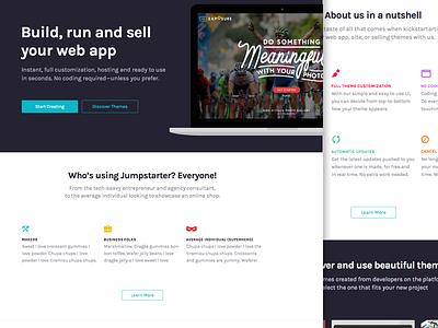 Jumpstarter Website branding colorful ui web iconography flat landing page website