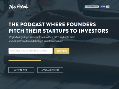The Pitch website investment coming soon landing page site branding colorful ui web