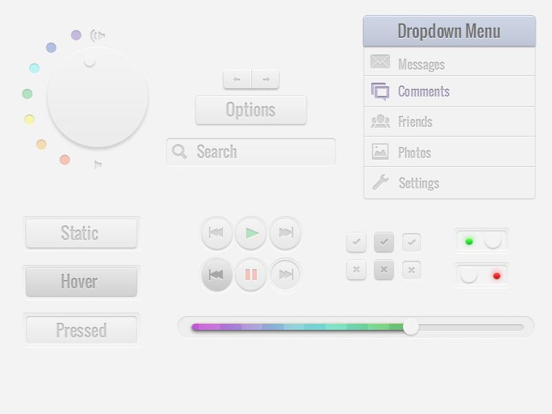 Simple UI Kit (Freebie) menu freebie ui elements buttons toggle dial switches progress bar ui kit