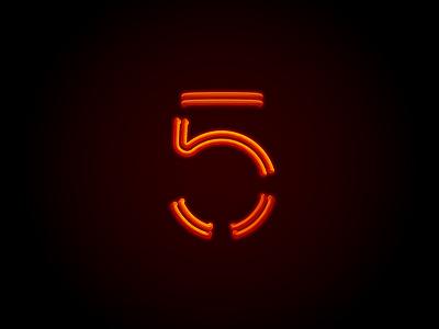 Neon Glow '5' Artwork icon design colour theory branding graphic design design neon glow artwork