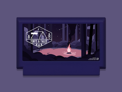 Famicase 2020 'Tents & Tales' cartridge trees stars night illustration art campfire landscape illustration
