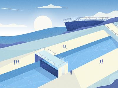 Waterfront bridge blue park river lock design illustration editorial