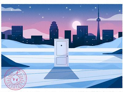 Scott Pilgrim night city door canada postcard scott pilgrim