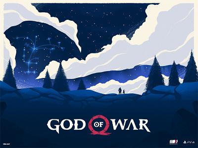 God of War stars night landscape axe playstation video game god of war