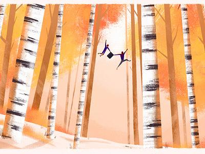 Into the Spider-verse tree forest spider-verse spider-man illustration