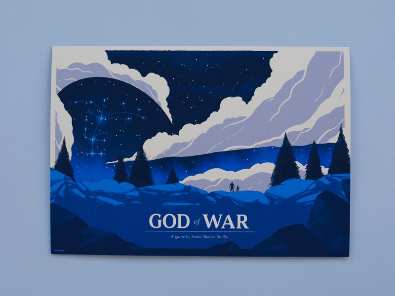 God of War Print playstation mountain fan-art video game poster print god of war