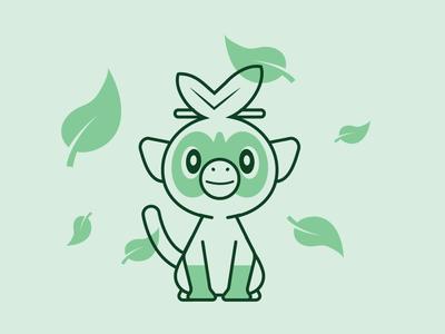 Grookey leaf grass type nintendo grookey pokemon