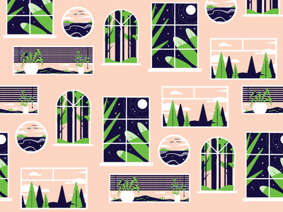 Window Watching trees illustration night plant