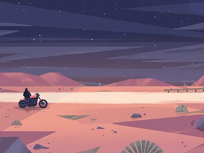 Harley Davidson HOG magazine night illustration print harley davidson motorbike desert editorial magazine