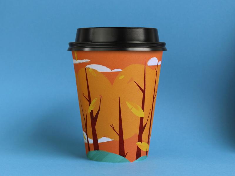 Octobercup 2019 procreate illustration orange leaf leaves autumn trees cup coffee