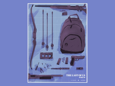 The Last of Us: Part II fan art bag blue poster weapons the last of us