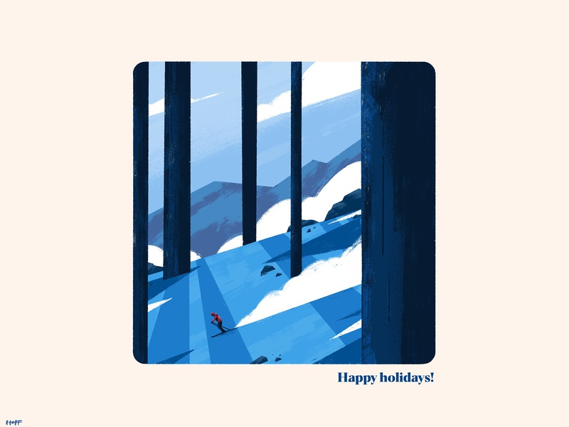 Happy Holidays! procreate illustration skiing ski mountains snow christmas