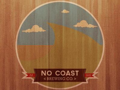No Coast Brewing Co Logo wood brewing waves of grain banner