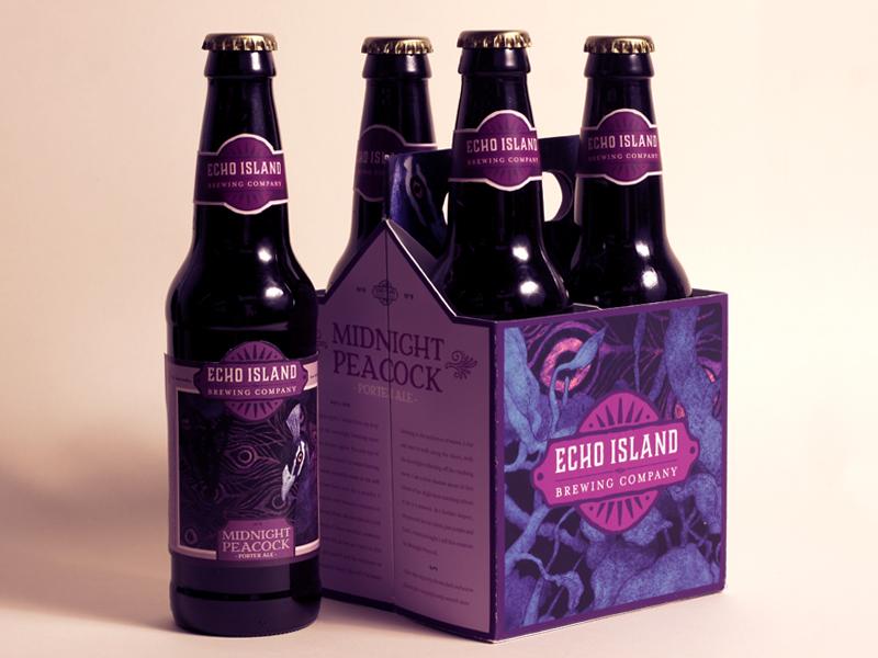 Echo Island Midnight Peacock Bottles beer typography label direction art branding design illustration package advertising