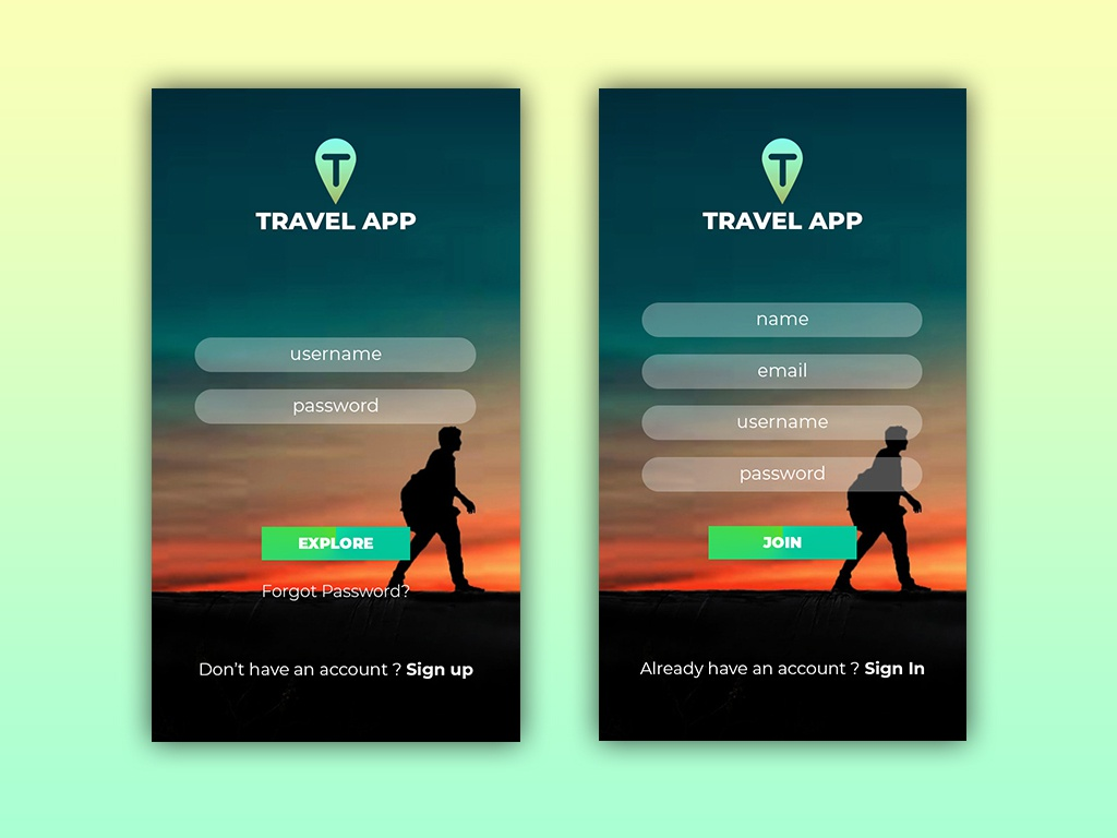Sign In | Sign Up app green travel ui design sign in sign up signup uiux ux 2019 trend 2019 simple design design daily ui dailyui ui