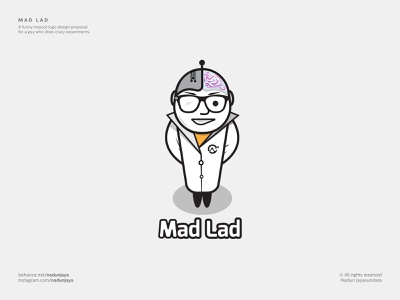 Mad Lad mascot supernatural nerd hightech labcoart lab science crazy scientist mad scientist scientist crazy mad branding character illustration design vector logo design logo flat