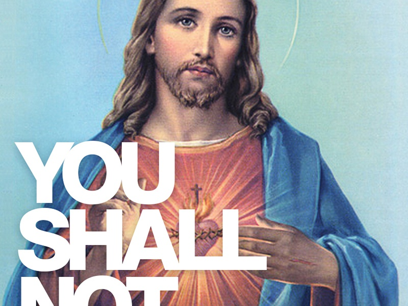 Anti-Bikeseat Theft ad peace be with you jesus no stealing helvetica layout ad design poster