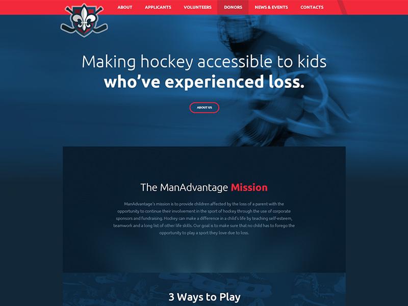 ManAdvantage Web Design pro bono nonprofit hockey web design