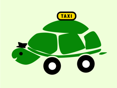 TURTLE TAXI taxi turtle logo icon sketch