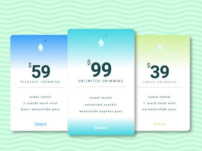 Pricing - Day 030 #dailyui water ux ui table swim summer pricing price pool illustration dailyui