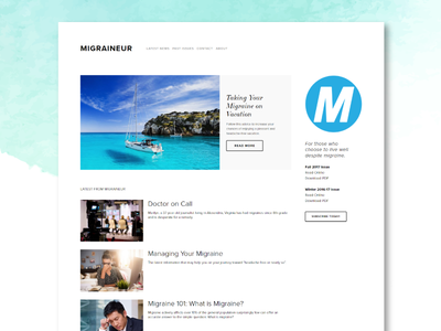 Migraineur Site small business website visual design ux ui squarespace news magazine website web design