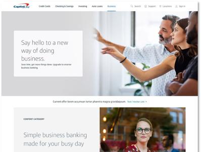 Capital One Business Banking Homepage Redesign ux user center design ui branding web design