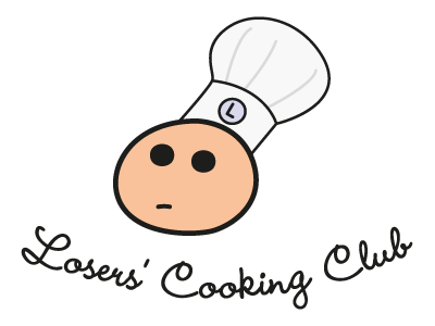 Losers' Cooking Club logo kitchen cooking comic sad chef