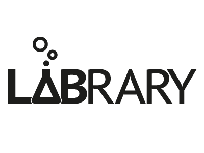 Labrary Logo 1.1 logo library lab project monochrome contrast flask