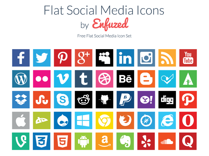free flat social media icons by zac on dribbble